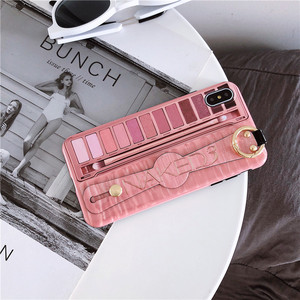 Eyeshadow Palette Wrist Strap Case For iphone 11 11Pro X Xs max XR For iphone 7 8 6 6s plus silicon Phone Holder Case