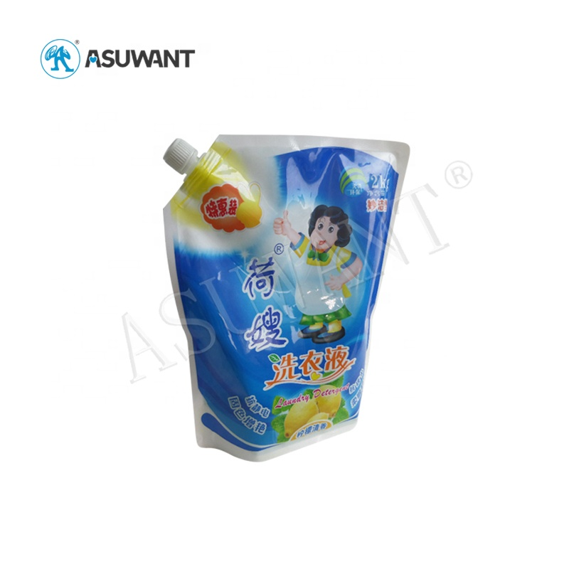 Leak Proof Plastic Stand Up Dishwashing Liquid Packaging Pouch for Liquids Refill Spout Pouch