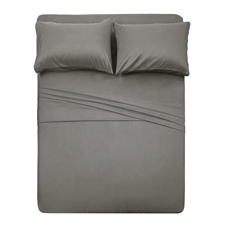 المنزل 4 قطعة ستوكات غطاء سرير مجموعة بلون المعزي ملاءات طقم سرير