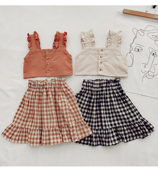2020 summer baby girls fashion plaid clothes sets sleeveless short vest and plaid skirts 2pcs sets