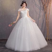 Элегантные свадебные платья размера плюс, бальное платье, круглый вырез, рукав-крылышко, кружевные аппликации, дешевые платья для невесты, ...(Китай)