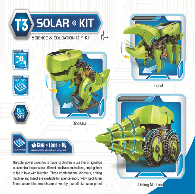 Hot sale educational eco-friendly 3 in 1 solar dinosaur toy kits stem solar powered system diy robot for kids children
