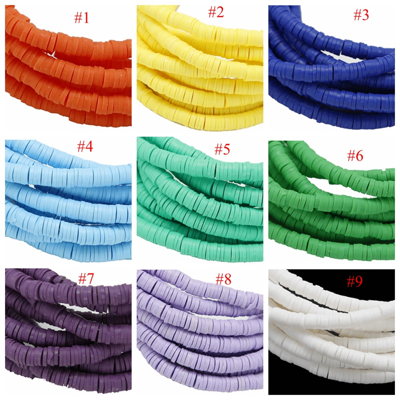 Rainbow Polymer Clay Heishi Beads Colorful Flat Disc Slice Spacer Smooth Beads vinyl disk beads for DIY Craft Jewelry