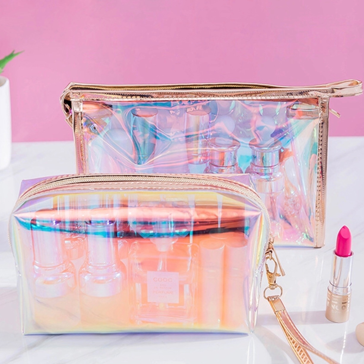 Custom pvc zipper gold holographic Cosmetic bag travel make up bag daily necessary food plastic bag