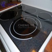 Customize Electric Appliance Kitchen 4mm 5mm Black Silkscreen Gas Stove Induction Cooker Tempered Ceramic Painting Glass