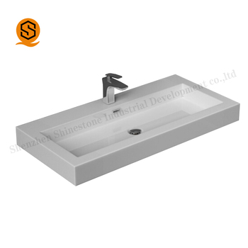 Factory Well Designed Artificial Marble Quartz Stone White Black Wash Basin Bathroom Sink Free Standing
