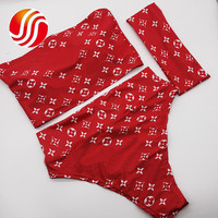 Red Fashion Headband+Bikini High Waist Thong Sexy Wrapped Chest Lady Bikinis Set