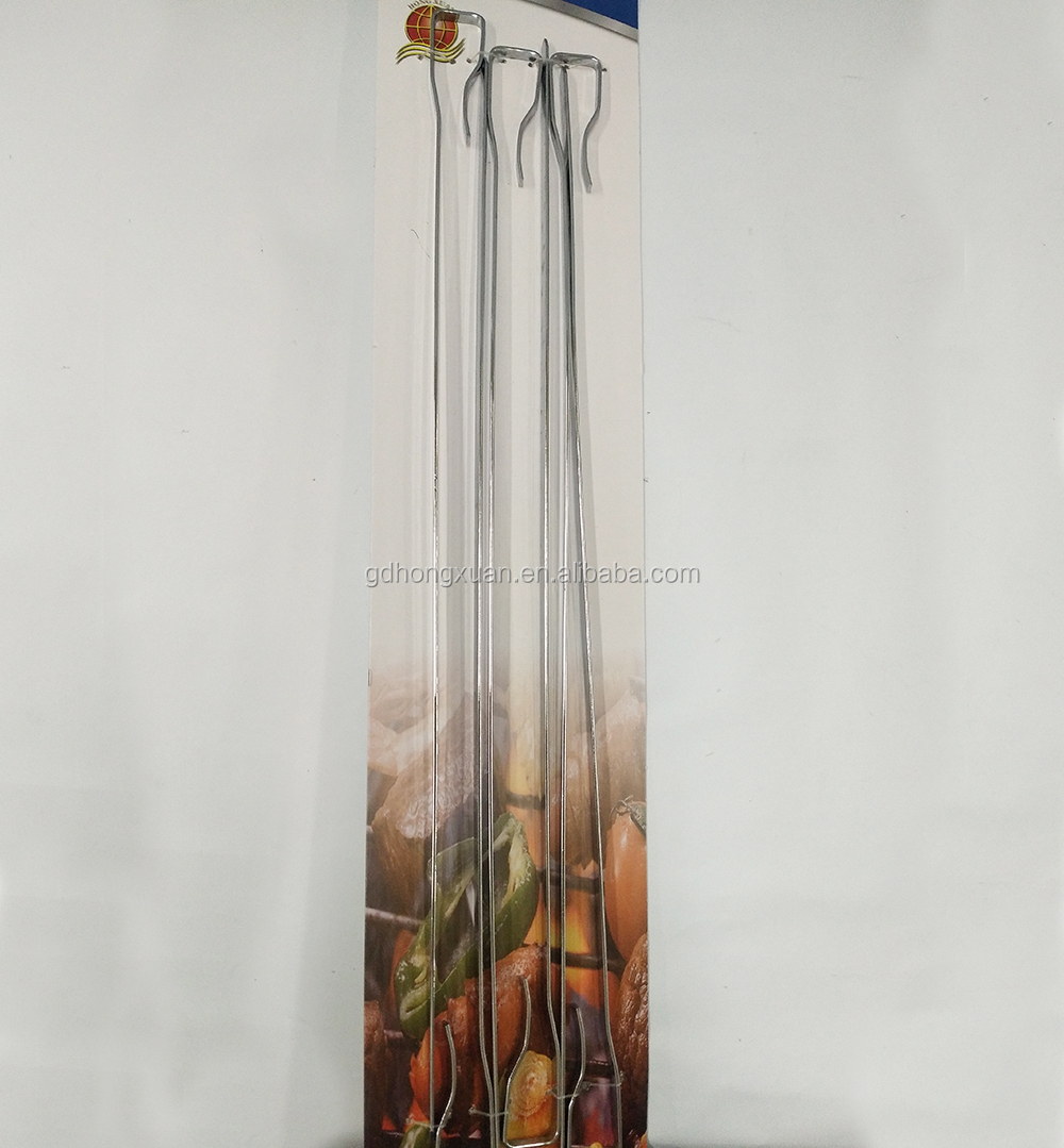 Platte Metalen BBQ Barbecue Spies Lange Rvs Kebob Sticks Breed Herbruikbare Grillen Spies Set voor Vlees Garnalen Kip