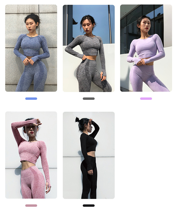 2020 Long Sleeve Crop Top Yoga Pant Gym Garment Manufacturer Vital Leggings Seamless Set Woman 2 Piece Women Outfit Sportswear