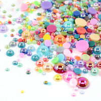 XULIN Wholesale ABS Craft Pearl AB Color 1.5-16mm plastic flat back abs Half Round pearls bead For Craft