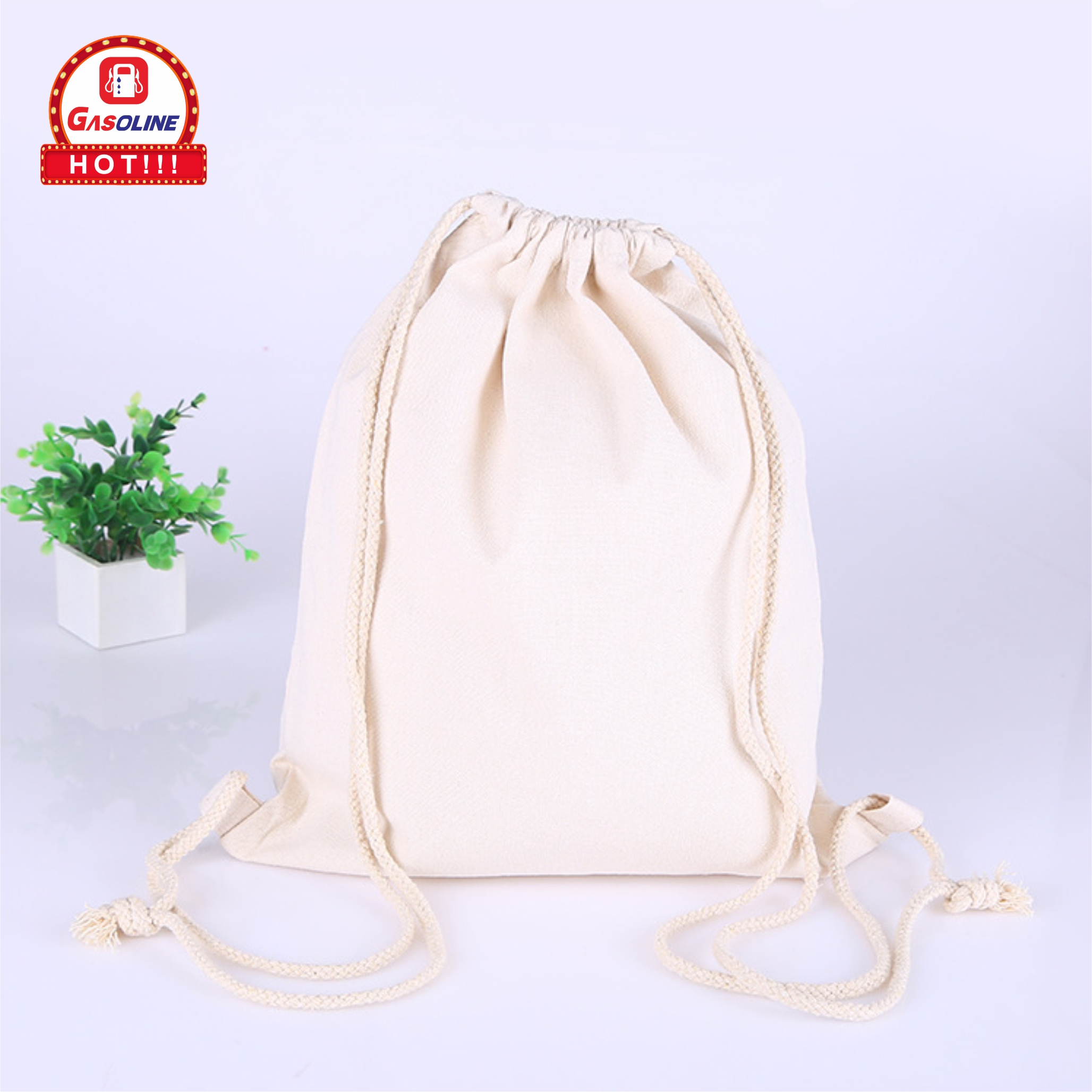 OEM Customized Logo Printed Cotton Dust Proof Cloth Shoes Travel Organic Drawstring Shopping Pouch Bag
