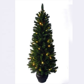 150cm Pre-lit Artificial Christmas Tree With Plastic Pot ...
