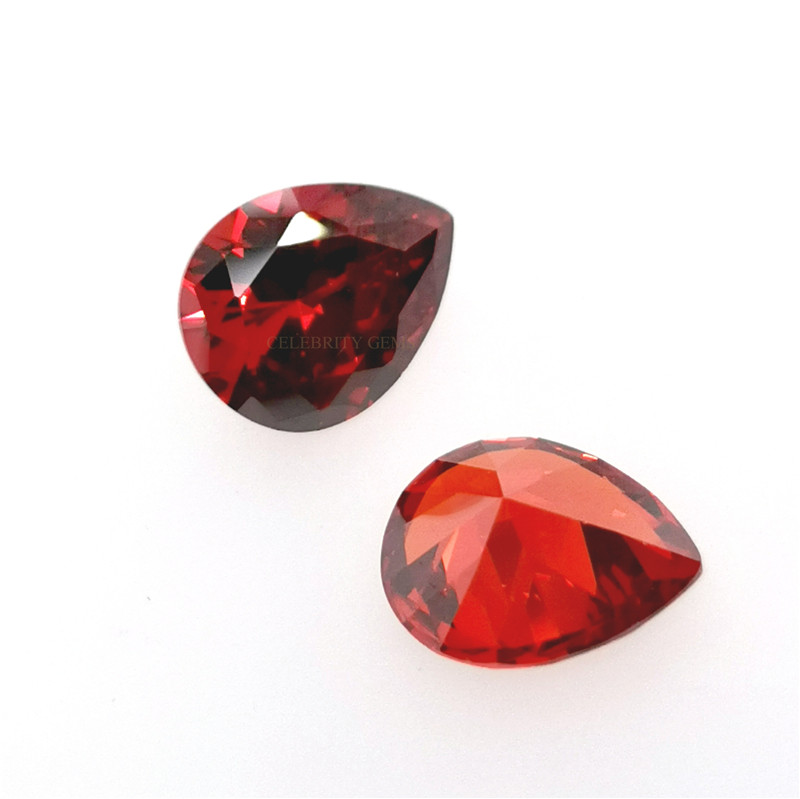 Perfect Cutting and Polished Garnet <strong>Pear</strong> Cut Cubic <strong>Zirconia</strong> for Fashion Jewelry