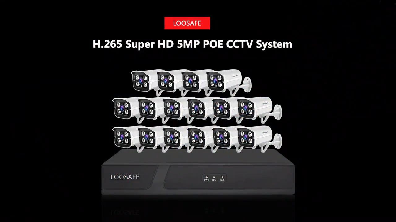 LOOSAFE 16CH 감시 카메라 시스템 poe 5MP ip 총알 카메라 4K POE NVR 모션 감지 hd 적외선 방수 카메라