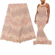 Вышивка дизайн золотой хлопок кружево ткань стразы нигерия свадебное кружево ткань последние африканские кружева 2020 высокое качество швей...(Китай)