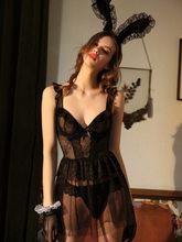 Пикантная кружевная ночная рубашка с v-образным вырезом, свадебное платье с открытой спиной, милое нижнее белье, Черное Нижнее белье для жен...(Китай)