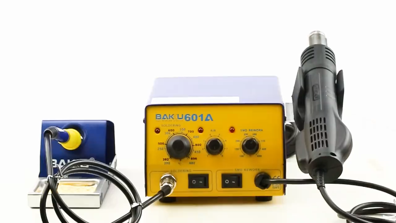 Multifunctional hot air smd  rework station with hot air gun soldering iron tool for wholesales BK-601A
