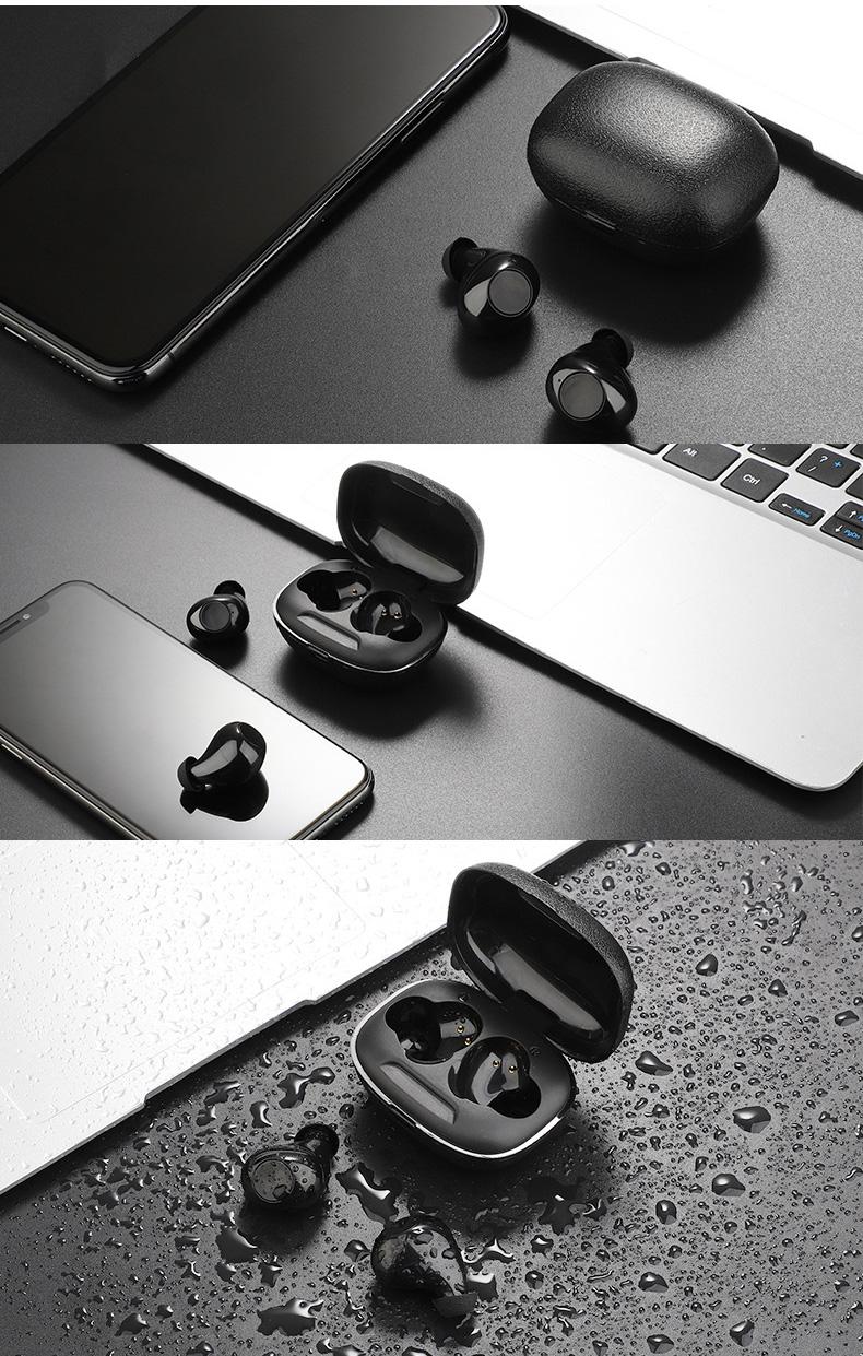 IPX5 סטריאו ספורט v5.0 bluetooth אוזניות אלחוטי אמיתי עמיד למים אוזניות עם טעינת מקרה