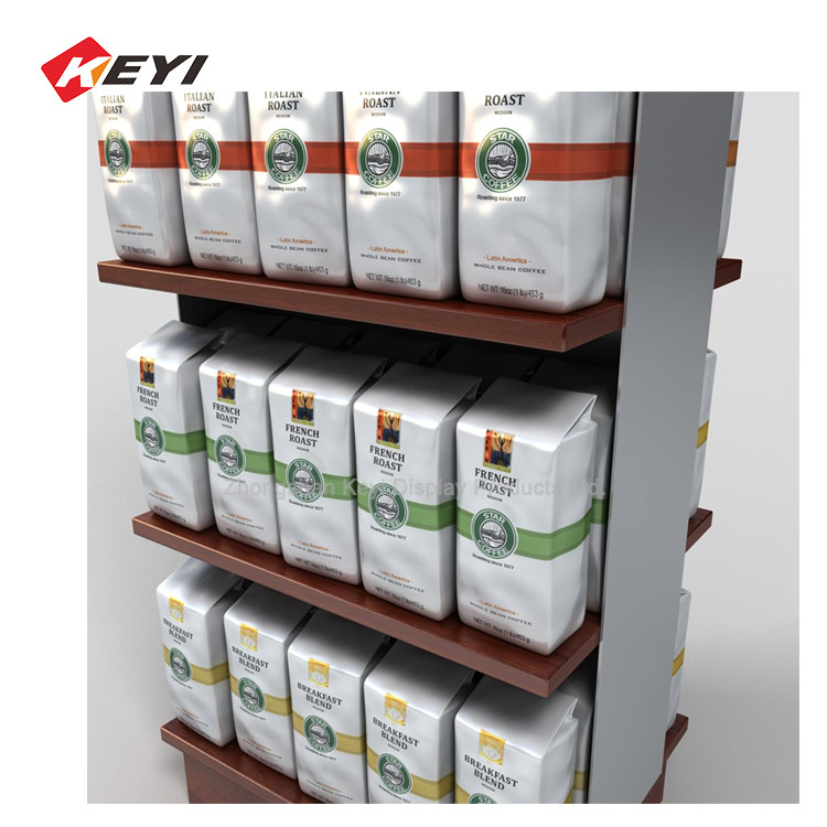 Double Sides Coffee Bag Display Rack ,Store Display Fixture