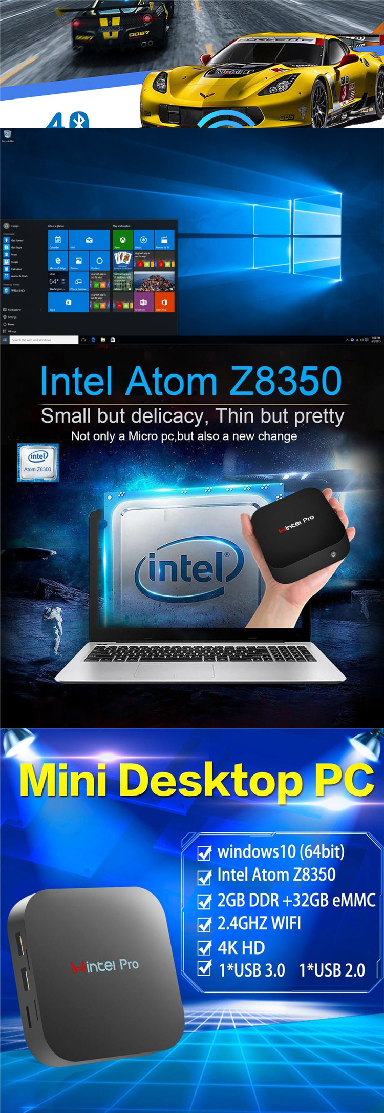 Best Intel smart tv box z8300 W8 Pro with factory price