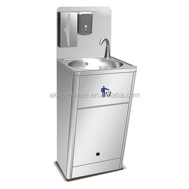 Hotel Restaurant Auto Stainless Steel Foot Pedal Hand Basin Station in Saudi/Outdoors SS304 Senor Hand Washing Sink Factory