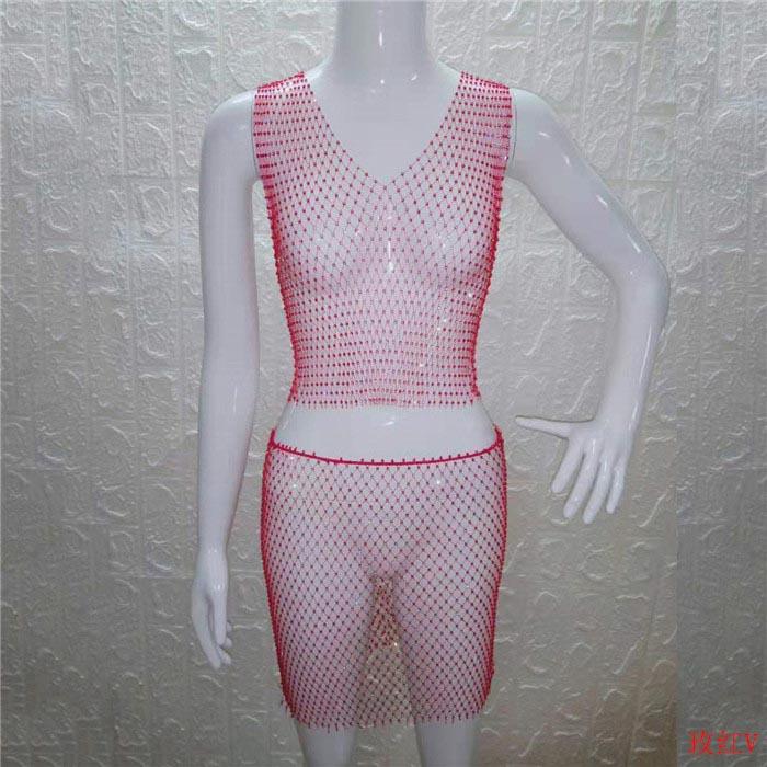 Блестящие стразы, прозрачные, два Женский комплект 2 шт., открытая спина, сетчатые топы, свободная мини-юбка, летняя пляжная одежда, сексуальн...(Китай)