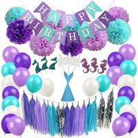Mermaid party happy birthday decorations set girl's mermaid birthday party favor decoration