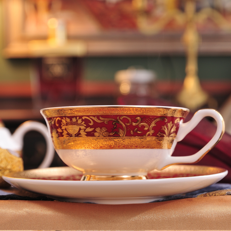 Fashion Golden Flower Coffee Set Decal Teapot Cup Set