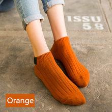 Женские однотонные носки, модные теплые хлопковые носки для девочек, женские короткие носки для сна, дома, спальни, повседневные носки в сти...(Китай)