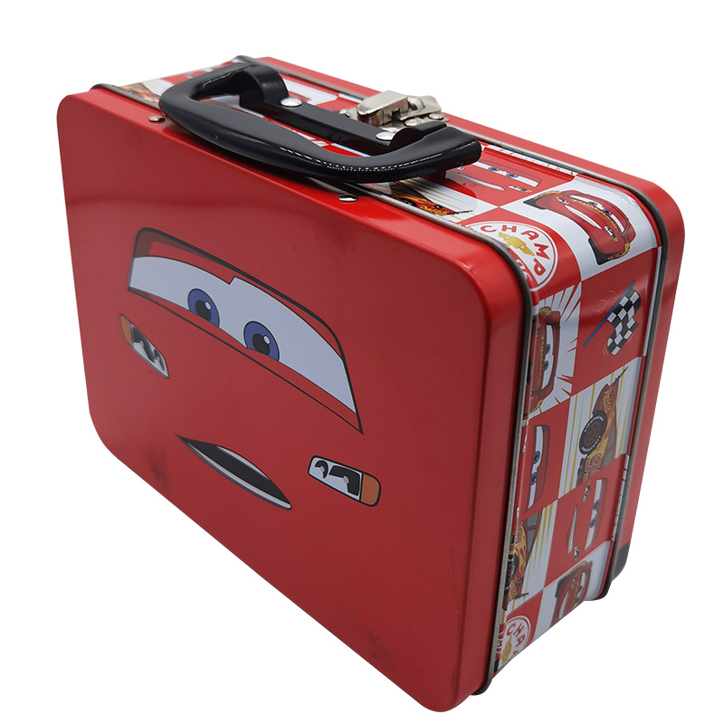 Wholesale autobot cartoon pattern metal packaging box cosmetic packaging tin box with handle
