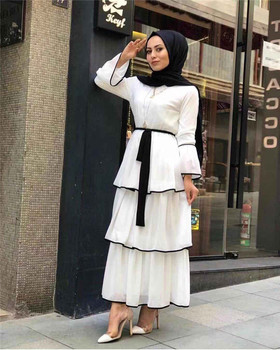 New Collection three layers high quality  soft crepe fabric muslim women dress islamic clothing