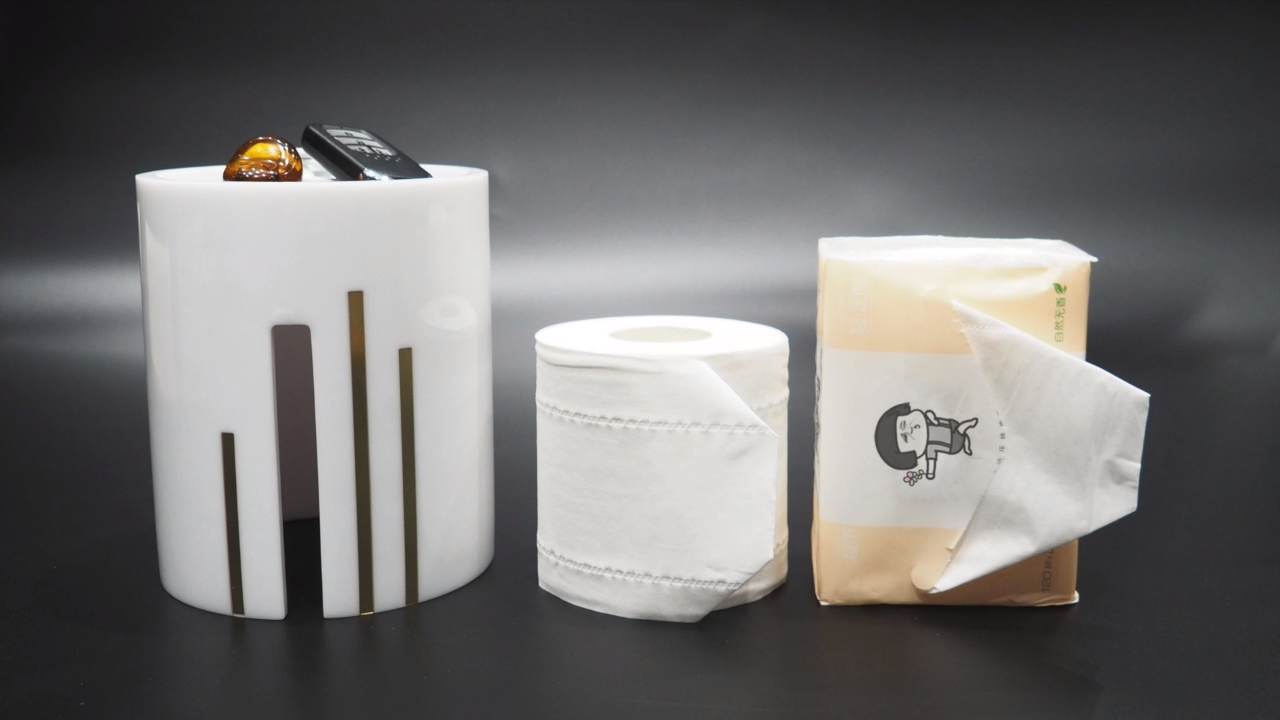 Suanti round hotel decorative fancy bathroom paper tissue holder small resin unique house custom container cover tissue box