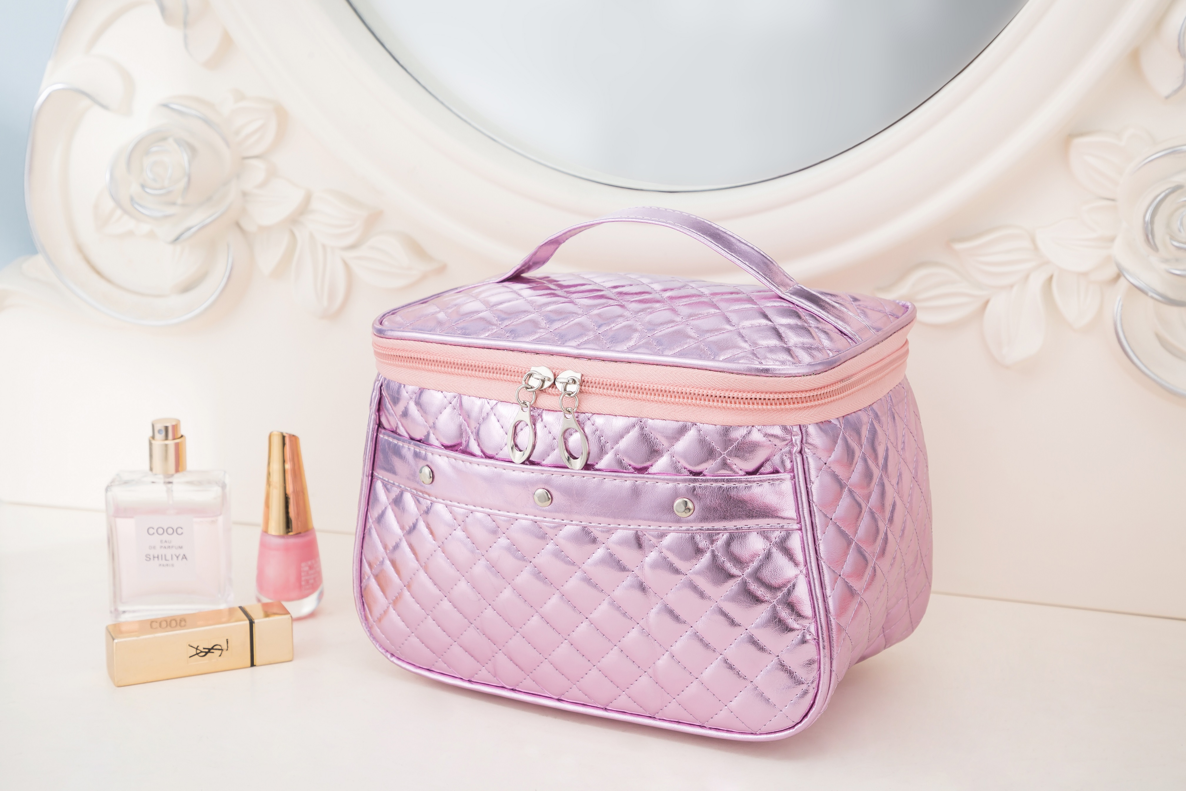 कस्टम 3 टुकड़ा सेट फैशन ब्रांड कॉस्मेटिक बैग निविड़ अंधकार Neceser पोर्टेबल श्रृंगार बैग महिलाओं पीवीसी पाउच यात्रा Toiletry बैग