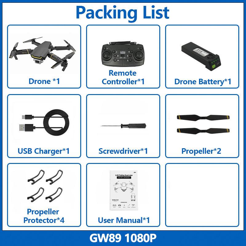 Global Drone GW89 FPV Дрон с 1080P HD WiFi камерой складной Радиоуправляемый вертолет Дрон игрушки мини-Квадрокоптер VS XS816 XS809HW E58 E520(Китай)