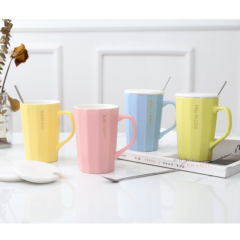 New Model Embossed Top Quality Candy Color Ceramic Coffee Mug Tea Cup Whole Sale Manufacturer