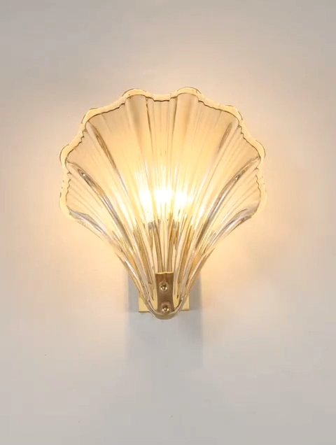 Shell wall lamp bedroom bedside all copper indoor step lamp