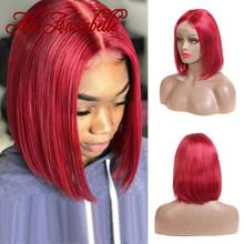 Ali Annabelle короткие парики для фронта шнурка, перуанские прямые парики для фронта шнурка, красные, синие, зеленые, розовые, Омбре, цветные челов...(Китай)