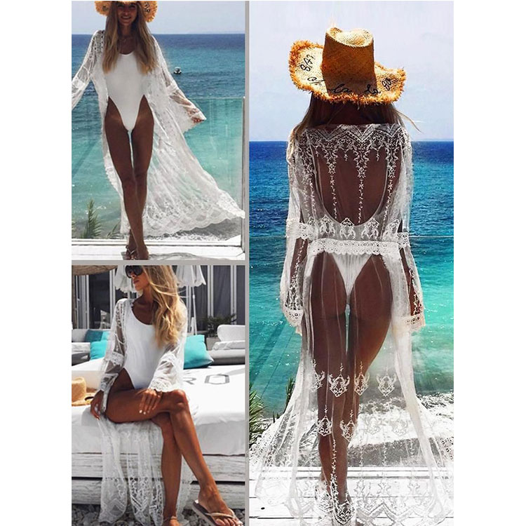 Sexy See Through Long Bikini Cardigan Dress Women Beach Bikini Cover ups