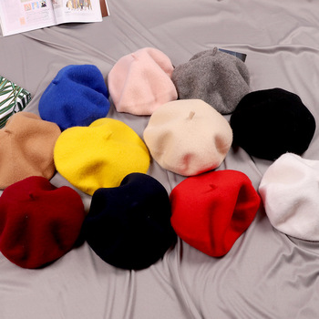 Solid color girls french artist children's beret hat for Kids
