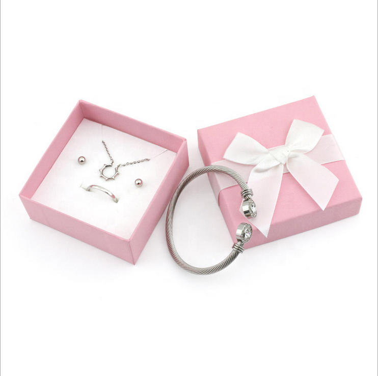 product-Pink Paper Packaging Ring Gift Custom Mini Jewelry Box With Ribbon-Dezheng-img-1