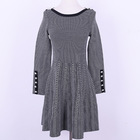 Knee-length Style Sweater Anti-static Long Sleeve Black Pinstripe Pullover Dress