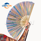 2019 new products pvc holographic iridescent reflective folding bamboo pvc hand fan