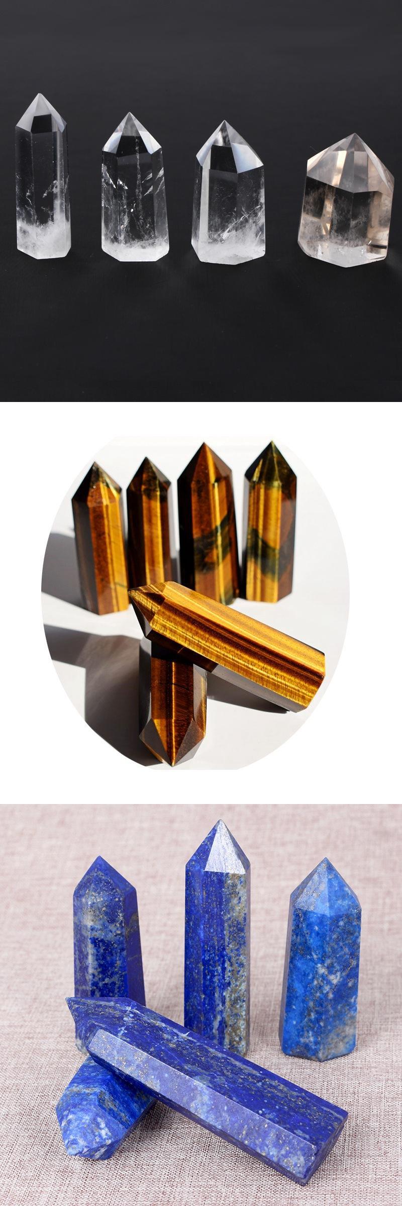 Rare Natural Amethyst Quartz Reiki Gemstone Healing Wands Fluorite Crystal Points