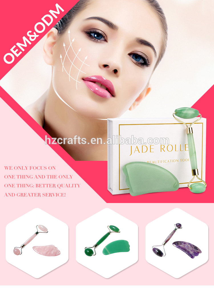 Factory direct price gua sha and mini green jade massage rollers rose quartz roller set authentic