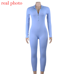 Simenual Ribbed Fitness Active Wear Rompers Womens Jumpsuit Zipper V Neck Sexy Fashion 2019 Long Sleeve Workout Sporty Jumpsuits