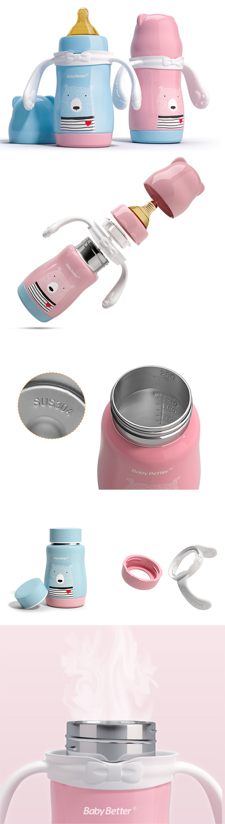 Baosheng Blue Pink Learner Sippy Cup Kids Cute Water Bottle Stainless Steel Thermos Cup