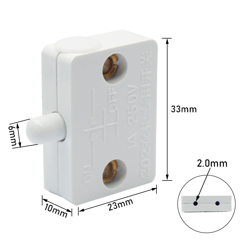 1 amp 202 type white door switch for wardrobe door cabinet normally closed lamp switch