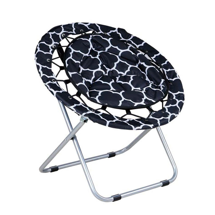 Outdoor Comfortable Elastic Cord Camping Adult Round Folding Saucer Moon Chair Bungee Chair