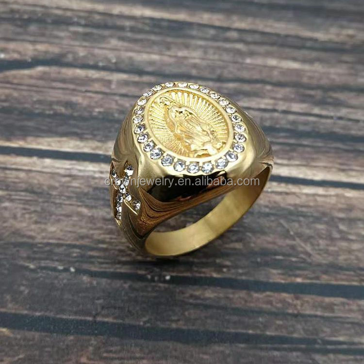 Hip HopJewelry Gold Plated Stainless Steel Rings Crystal Horse Head Ring For Men