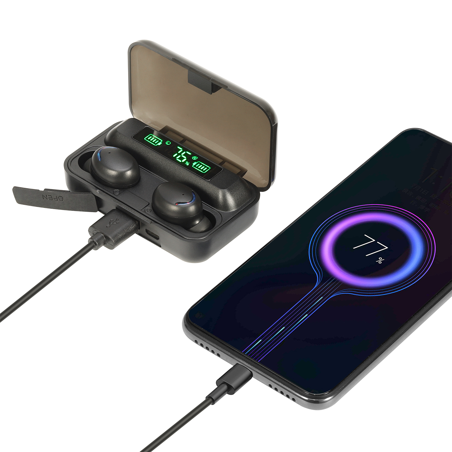 Powerbank With Earphone Rechargeable Wireless Microphones Audifonos Bluetooth For Xiaomi Glow Ear Phones For Apple Headset